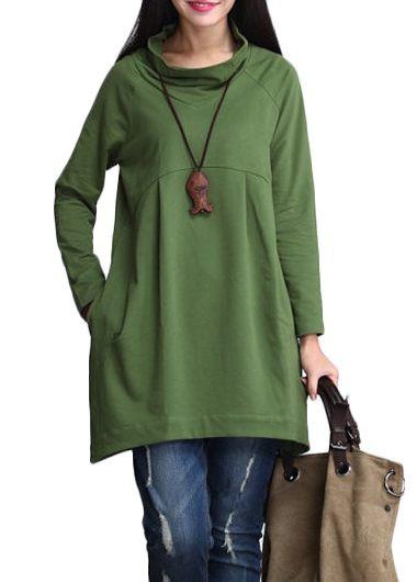 Cowl Neck Long Sleeve Green T Shirt