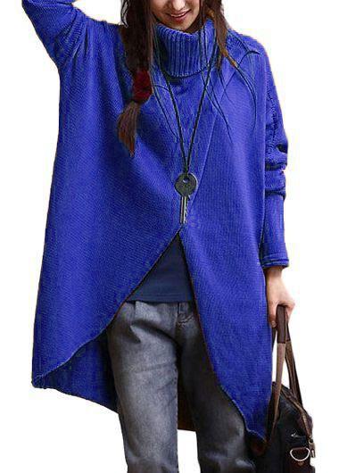 Royal Blue Turtleneck Asymmetric Hem Long Sleeve Sweater