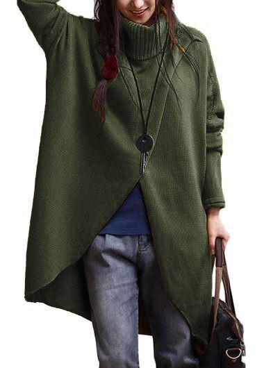 Batwing Sleeve Turtleneck Army Green Asymmetric Sweater