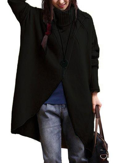 Asymmetric Hem Turtleneck Long Sleeve Black Sweater