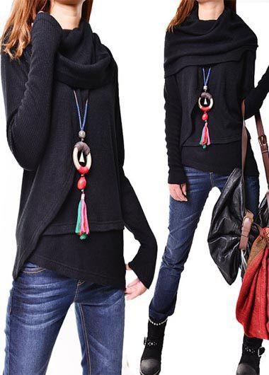 Black Cowl Neck Long Sleeve Asymmetric Sweater