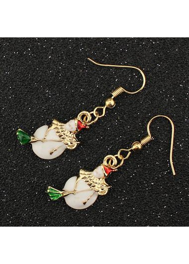Christmas Snowman Pattern Gold Metal Earrings for Woman