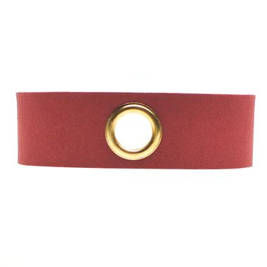 Eyelet Design Wine Red Faux Suede Choker Necklace