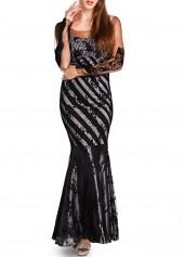 Open Back Mesh Splicing Black Mermaid Dress