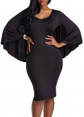 wholesale V Neck Black Cutout Back Cloak Bodycon Dress