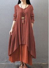Button Design V Neck Layered Maxi Dress