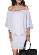 Ruffle Overlay Open Back White Dress
