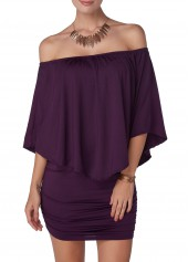 Ruffle Overlay Open Back Purple Dress