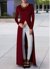 Long Sleeve High Slit Wine Red Blouse