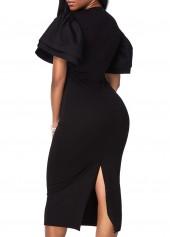 wholesale Black Petal Sleeve Round Neck Pencil Dress