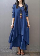 Long Sleeve Navy Blue V Neck Maxi Dress