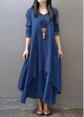 wholesale Long Sleeve Navy Blue V Neck Maxi Dress
