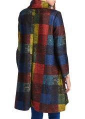 wholesale Asymmetric Hem Long Sleeve Turtleneck Plaid Straight Dress