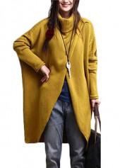 wholesale Turtleneck Asymmetric Hem Yellow Long Sleeve Sweater