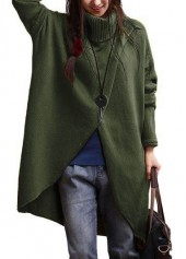 Batwing Sleeve Turtleneck Army Green Asymmetric Sweater