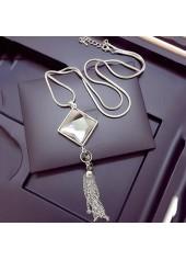 Square Shape Rhinestone Decorated Tassel Design Necklace