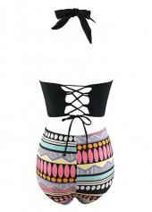wholesale High Waist Halter Neck Printed Two Piece Swimwear