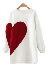 Round Neck Heart Print Long Sleeve White Sweatshirt