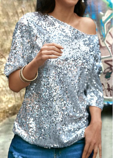 Sequins Decorated Solid Silver T Shirt