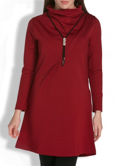 Solid Burgundy Long Sleeve High Neck Pocket Dress