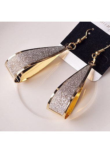 Water Drop Style Matting Gold Earrings