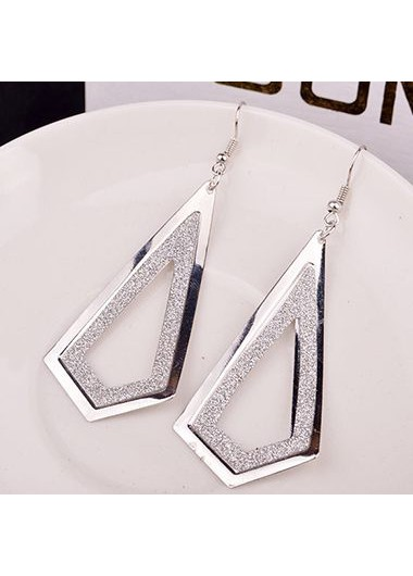 Geometry Shape Frosted Silver Metal Earrings for Woman
