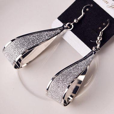 Water Drop Shape Matting Silver Earrings