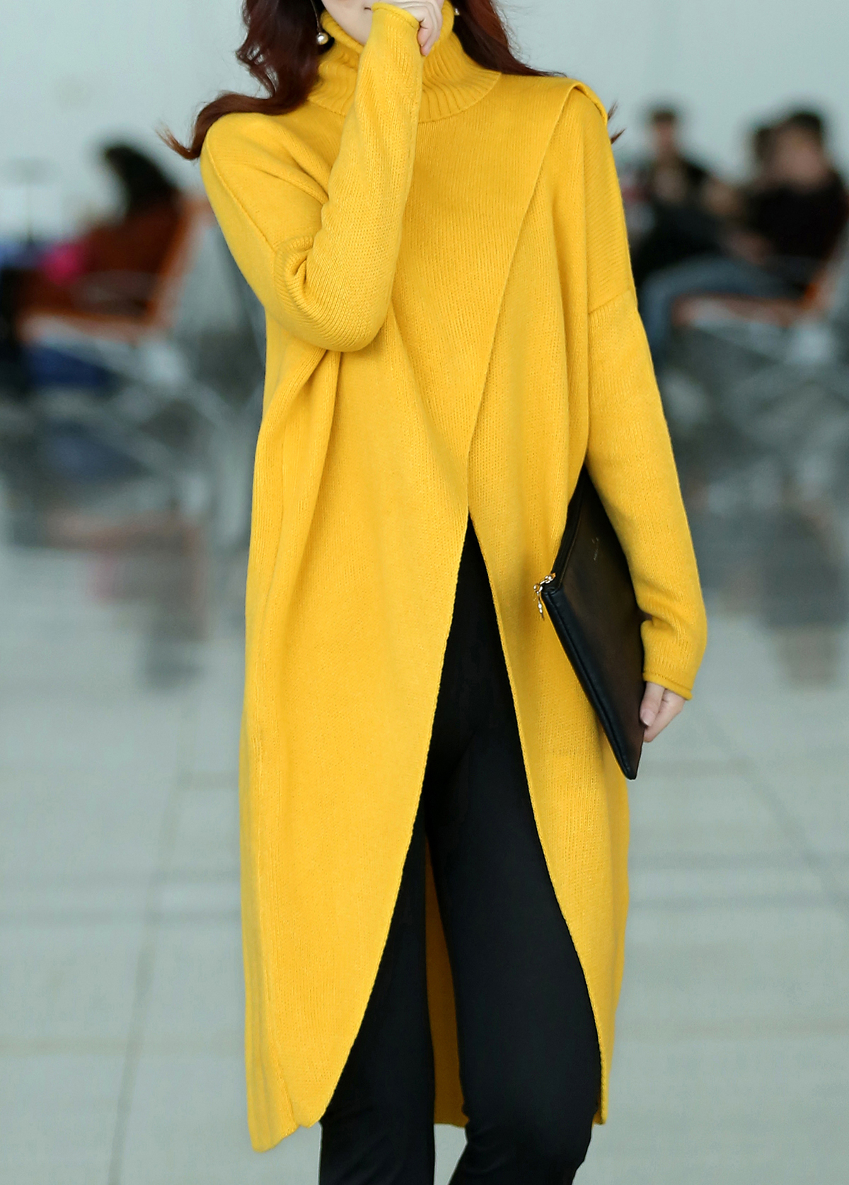 Front Slit Turtleneck Long Sleeve Yellow Sweater Rosewe