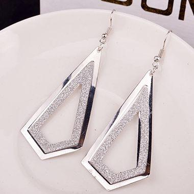 Geometry Shape Frosted Silver Metal Earrings for Woman