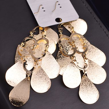 Gold Metal Fish Scale Embellished Pendant Earrings