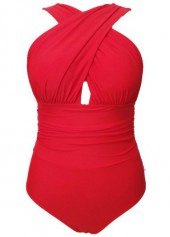 Orange Red Criss Cross Front One Piece Swimwear