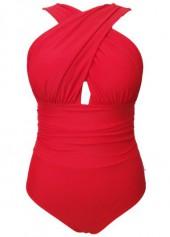 wholesale Orange Red Criss Cross Front One Piece Swimwear