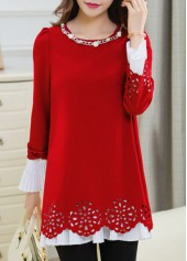 Red Puff Sleeve Metal Chain Embellished Blouse
