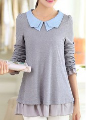 Grey Peter Pan Collar Frill Hem Patchwork Blouse