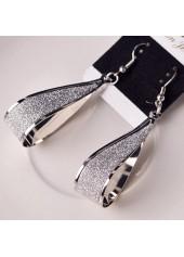 wholesale Water Drop Shape Matting Silver Earrings