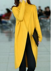 Front Slit Turtleneck Long Sleeve Yellow Sweater