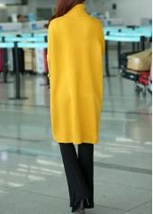 wholesale Front Slit Turtleneck Long Sleeve Yellow Sweater