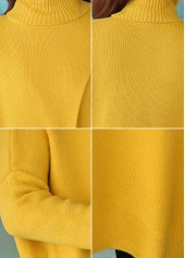 Front Slit Turtleneck Long Sleeve Yellow Sweater | Rosewe.com ...
