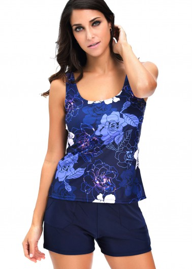 Navy Blue Flower Print Top and Shorts