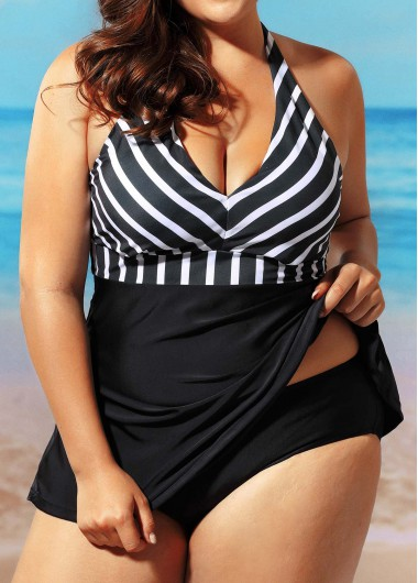 Open Back Stripe Print Black Swimdress