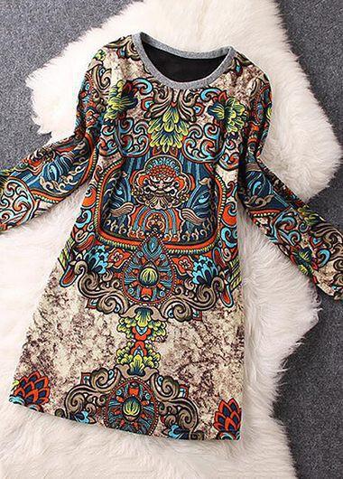 Printed Long Sleeve Round Neck Mini Dress