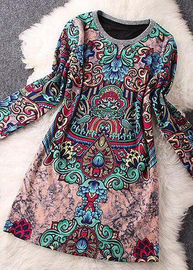 Long Sleeve Round Neck Printed Straight Dress