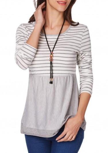 Round Neck Long Sleeve Stripe Print T Shirt