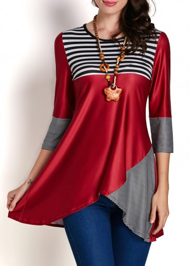 Three Quarter Sleeve Striped Patchwork Asymmetric Blouse