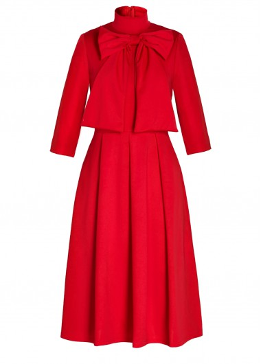 Red Bowknot Embellished Three Quarter Sleeve Dress