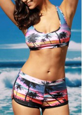 wholesale Coconut Tree Print Two Piece Swimwear