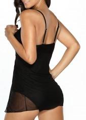 wholesale Solid Black V Neck One Piece Swimwear