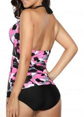 wholesale Halter Camouflage Print Rose Tankini Set