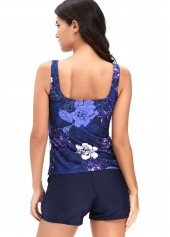 wholesale Navy Blue Flower Print Top and Shorts