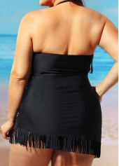 wholesale Plus Size Ruched Tassel Embellished Swimdress and Panty